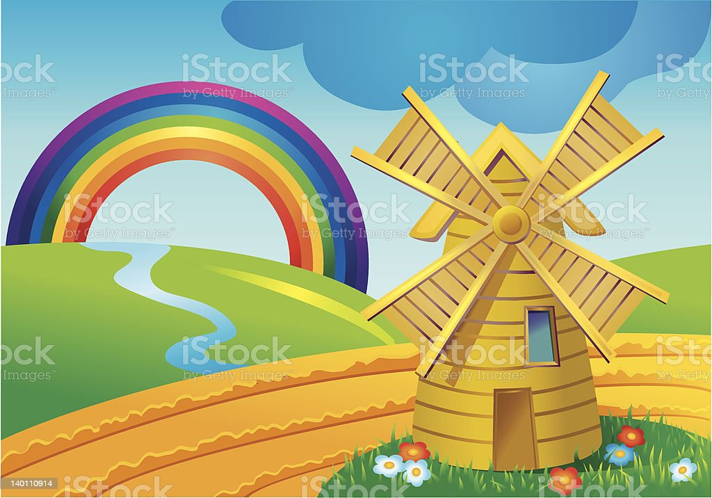 Landscape with mill royalty-free stock vector art