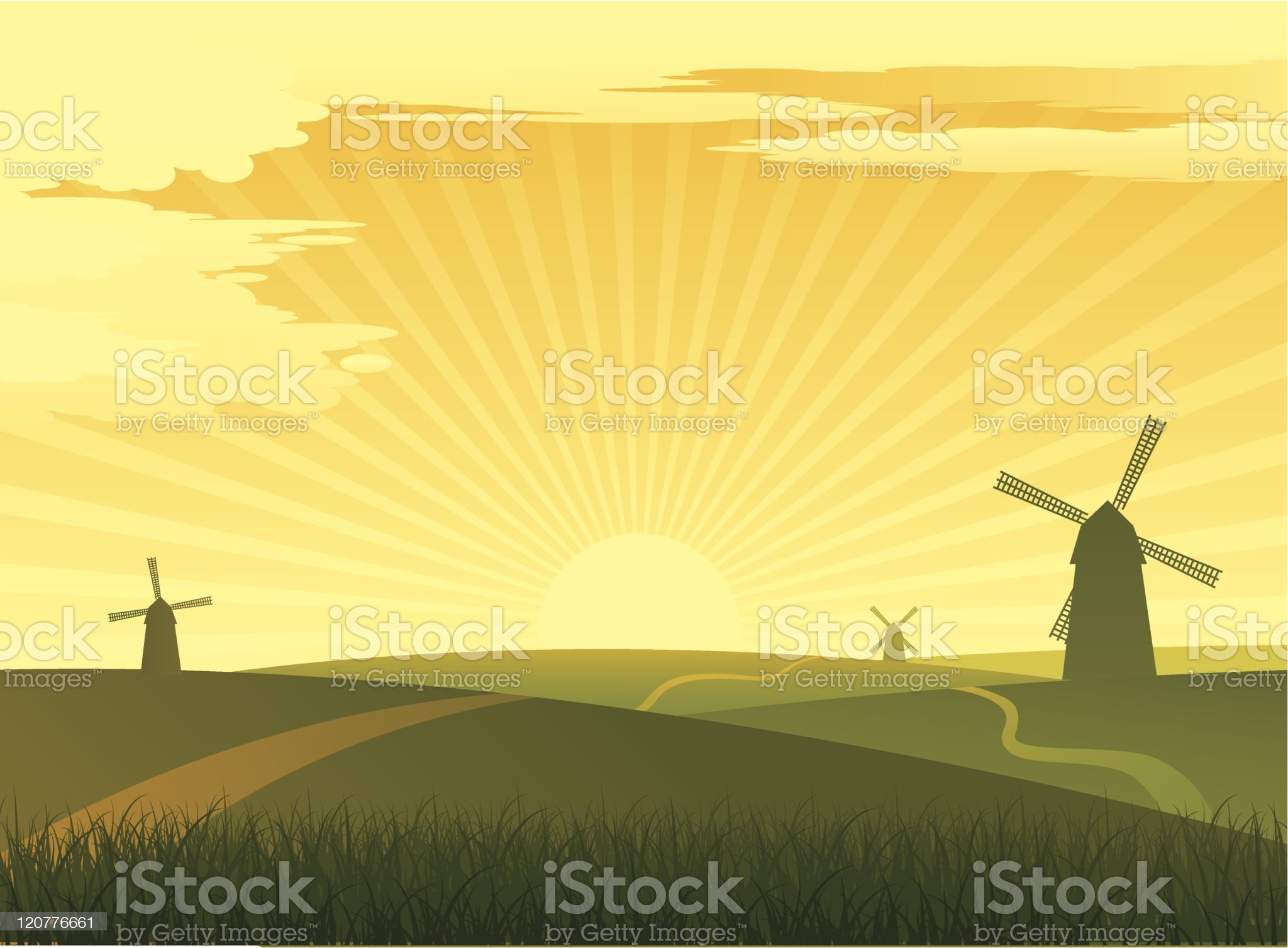 landscape with mills royalty-free stock vector art