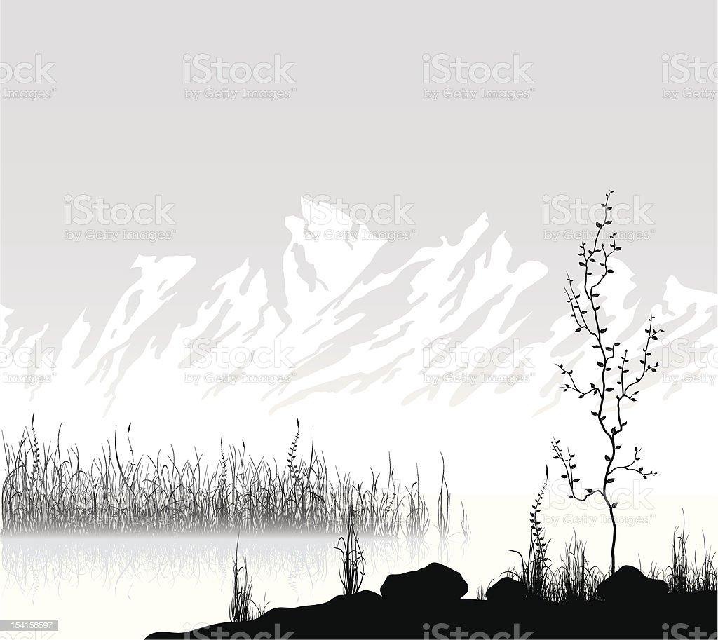Landscape with mountain range near lake. royalty-free stock vector art