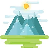 Landscape with mountains, shiny sun - vector flat style design