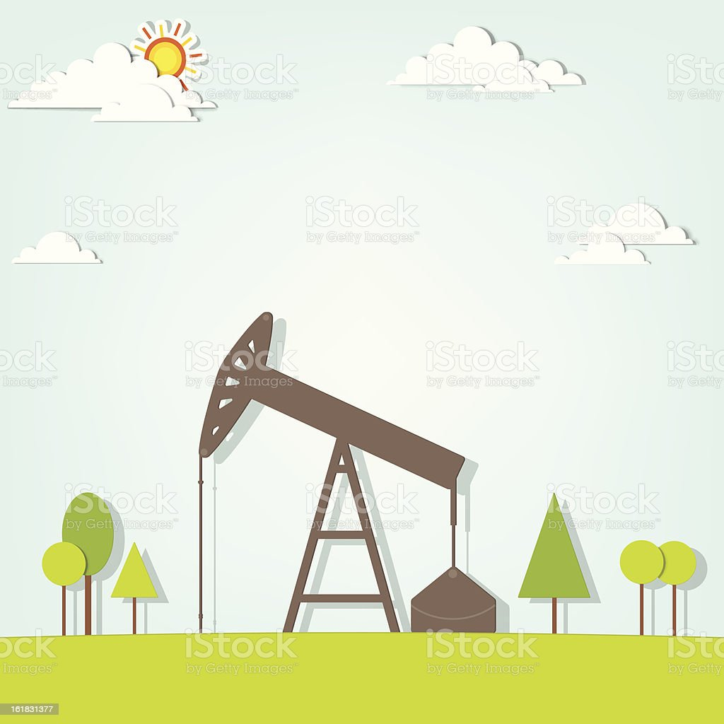 landscape with oil pump royalty-free stock vector art