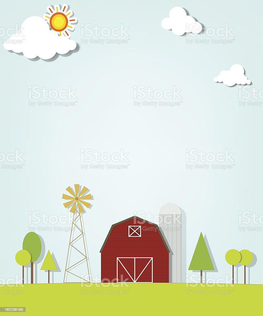 Paysage avec une ferme, Moulin Rouge et de silos stock vecteur libres de droits libre de droits