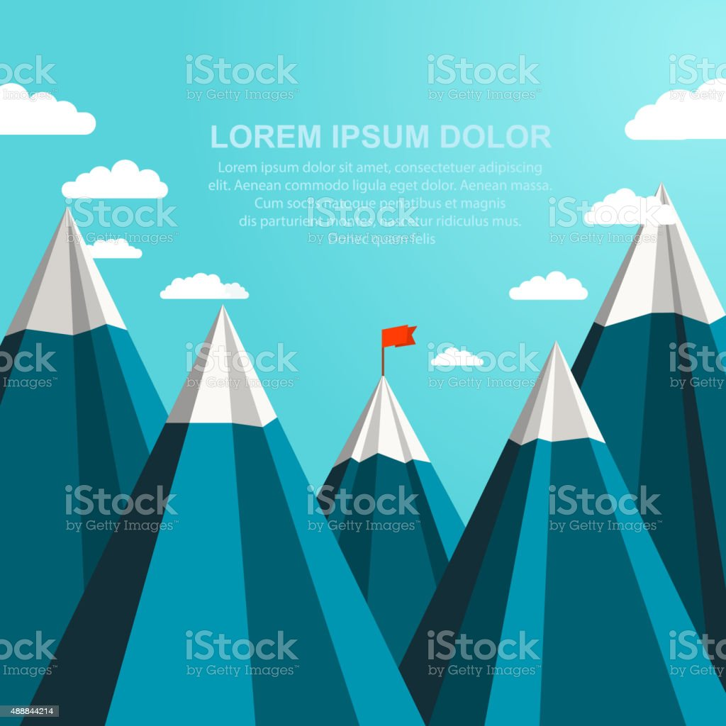 Landscape with red flag on the top of mountains vector art illustration