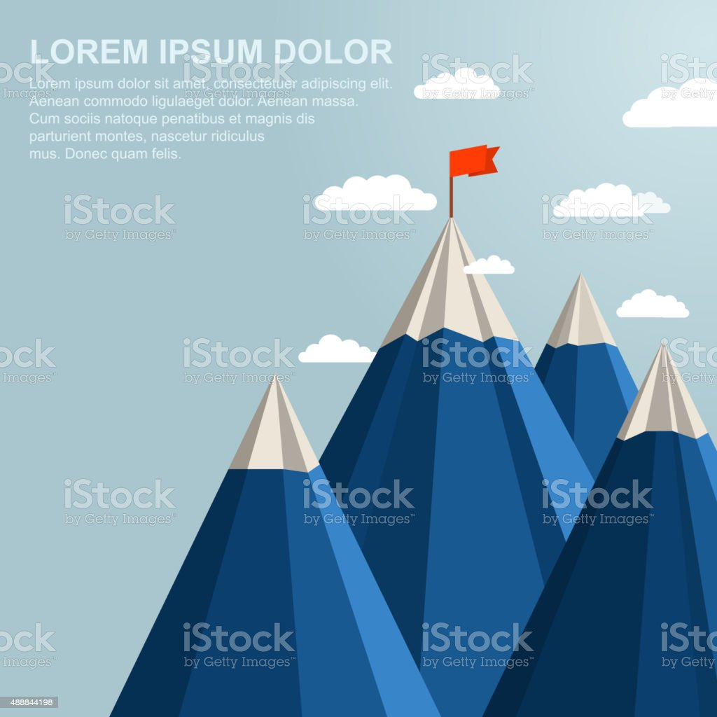 Landscape with red flag on top of Mountain. Leadership concept vector art illustration