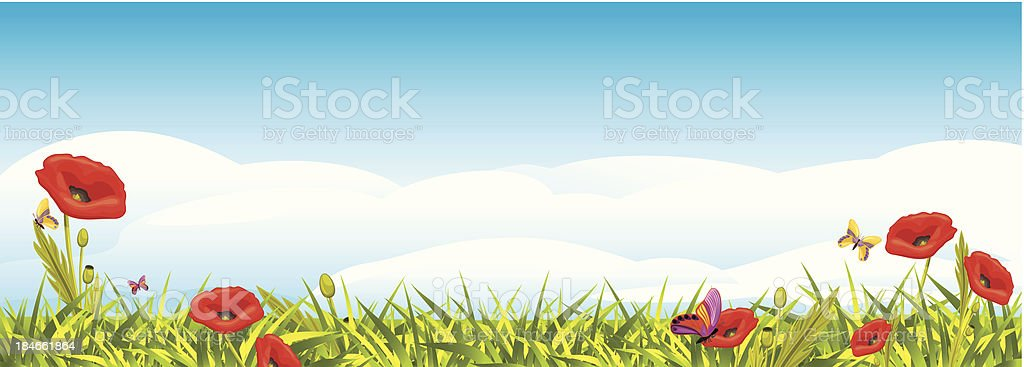 Landscape with red poppies royalty-free stock vector art