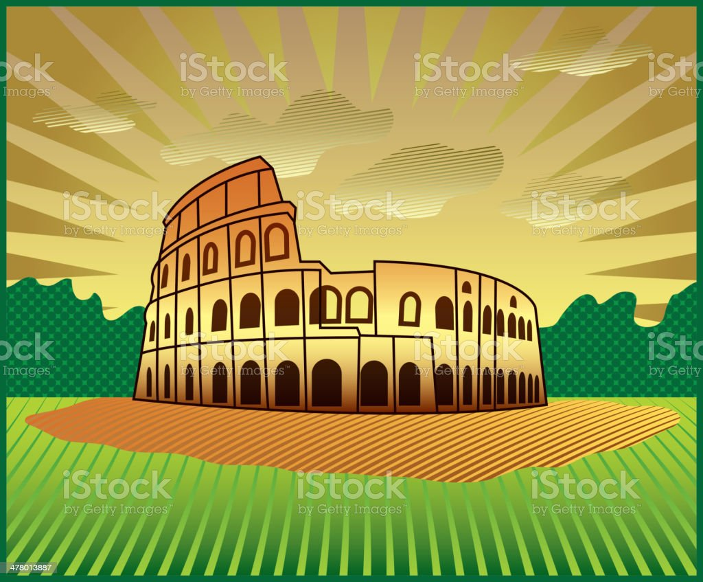 landscape with Roman Colosseum royalty-free stock vector art
