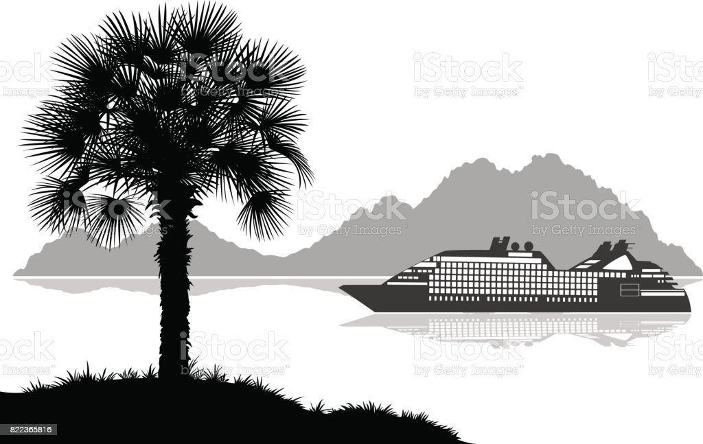 Landscape with Ship, Palms and Mountains vector art illustration