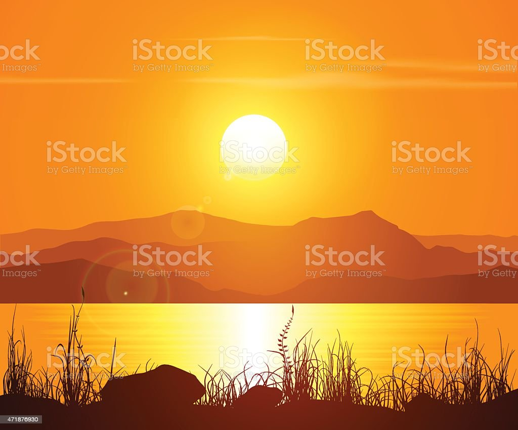 Landscape with sunset at the seashore - sea, mountains and bright...