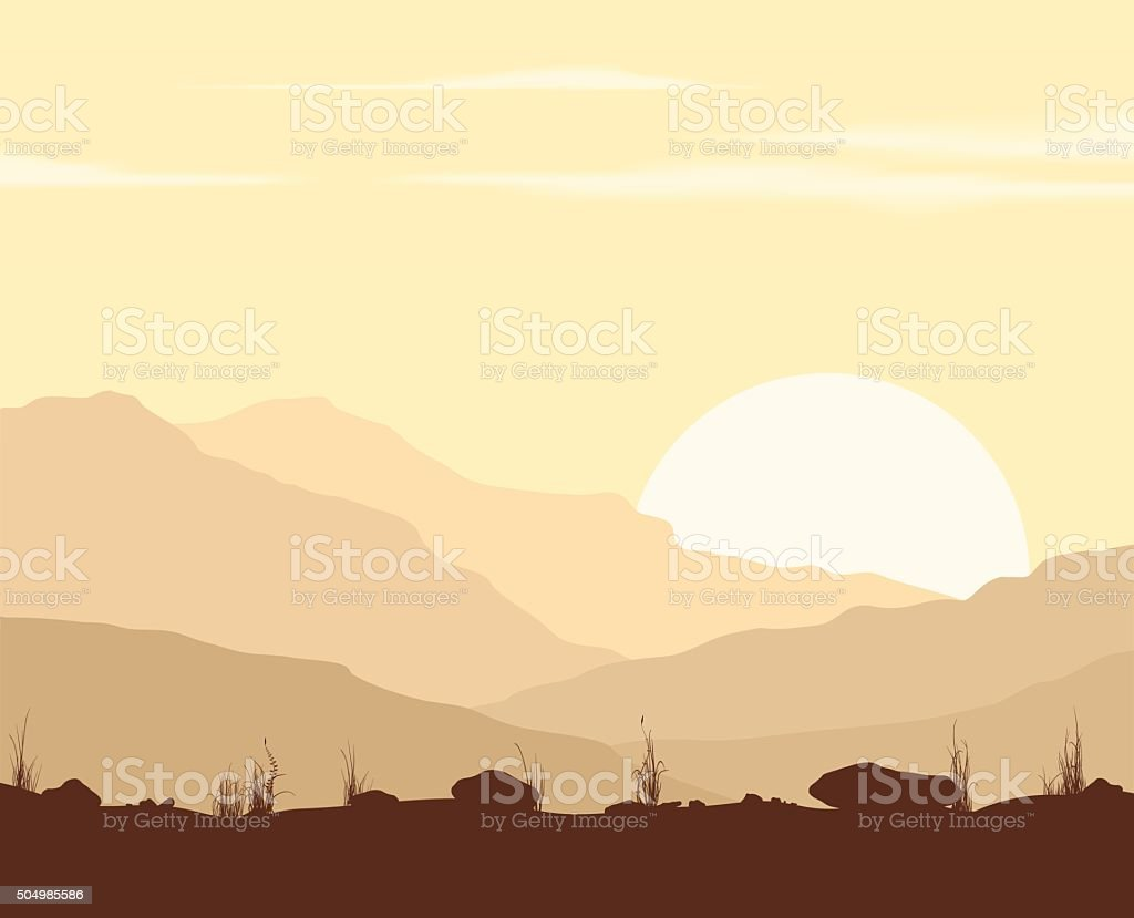 Landscape with sunset in mountains. vector art illustration