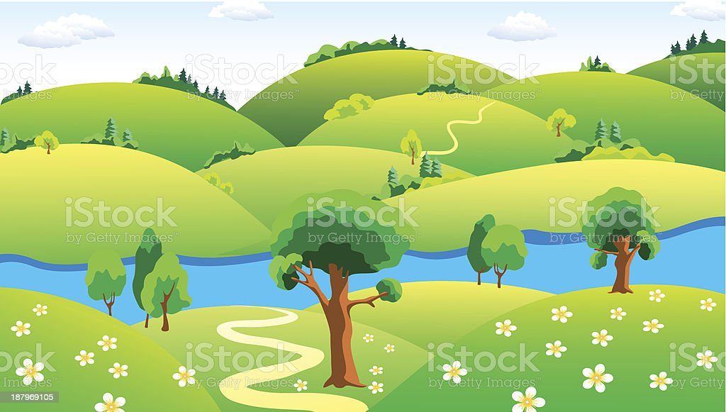 Landscape with the river royalty-free stock vector art
