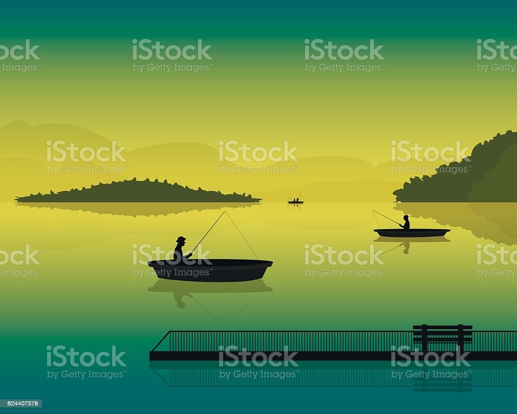 landscape with the silhouette of fishermen in a boat vector art illustration