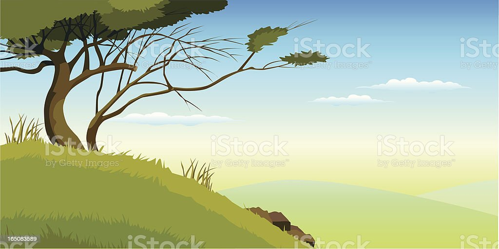 Landscape with tree royalty-free stock vector art