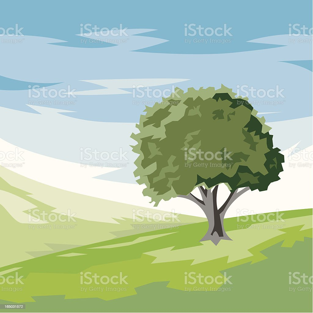 Landscape with tree - vector royalty-free stock vector art