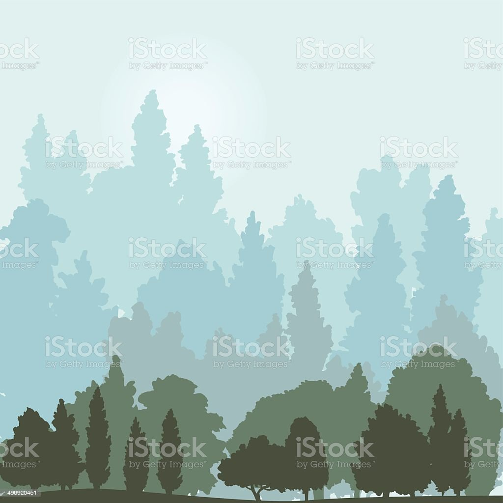 landscape with trees vector art illustration