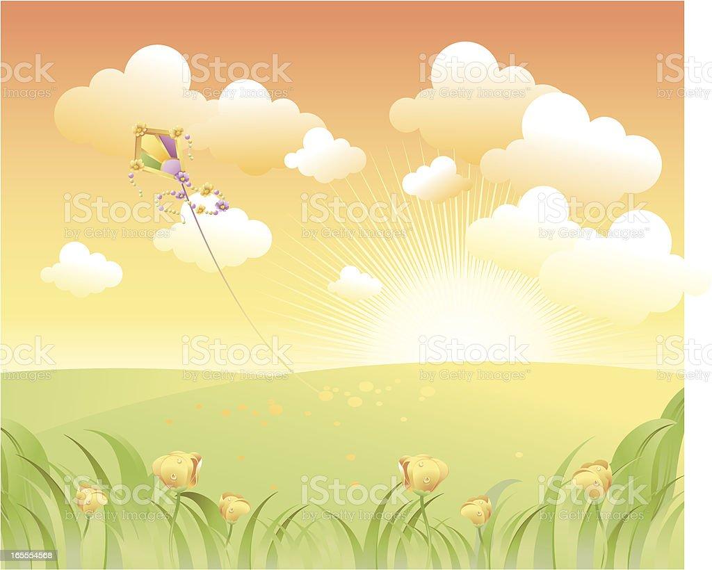 landscape with tulips vector art illustration