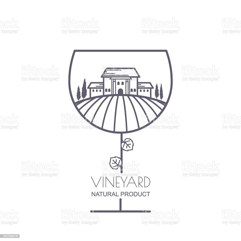 Landscape with vineyard fields, villa, trees in wine glass shape. vector art illustration