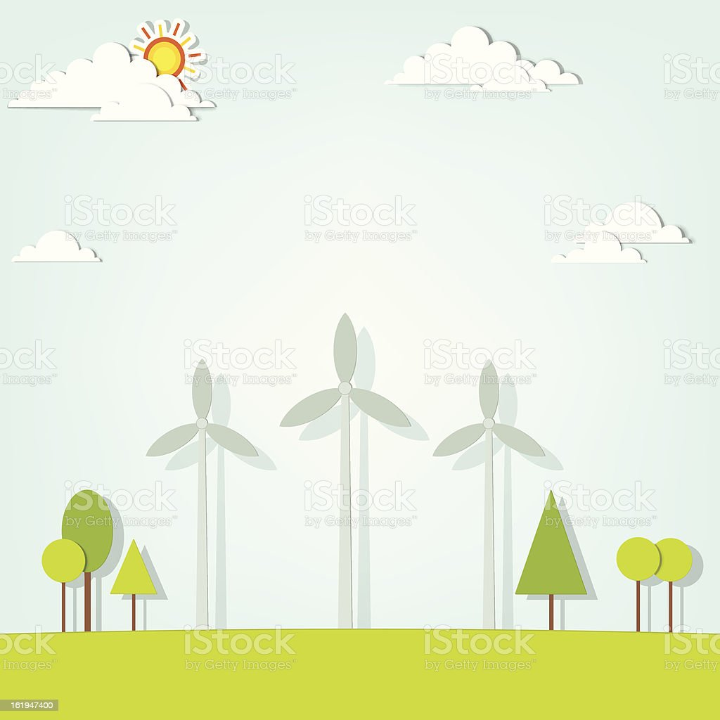 Paysage de turbines de vent stock vecteur libres de droits libre de droits