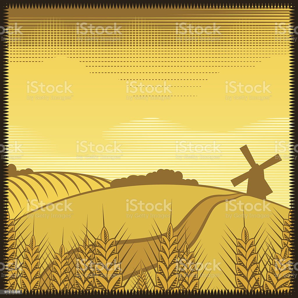 Landscape with windmill royalty-free stock vector art