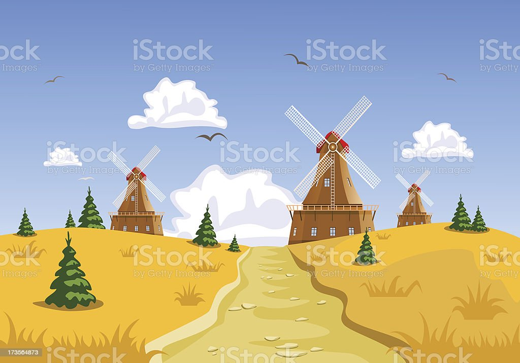 Landscape with windmills in the background royalty-free stock vector art