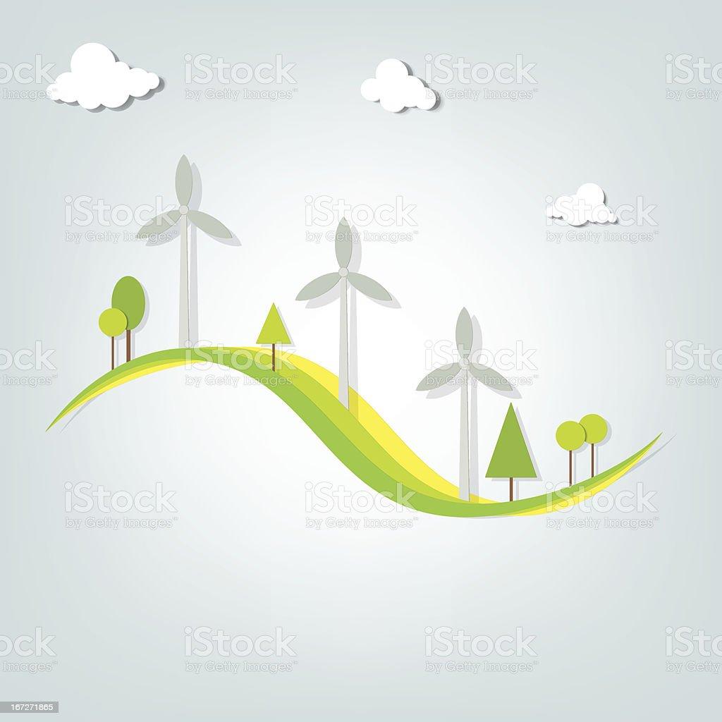 Paysage avec des moulins à vent stock vecteur libres de droits libre de droits