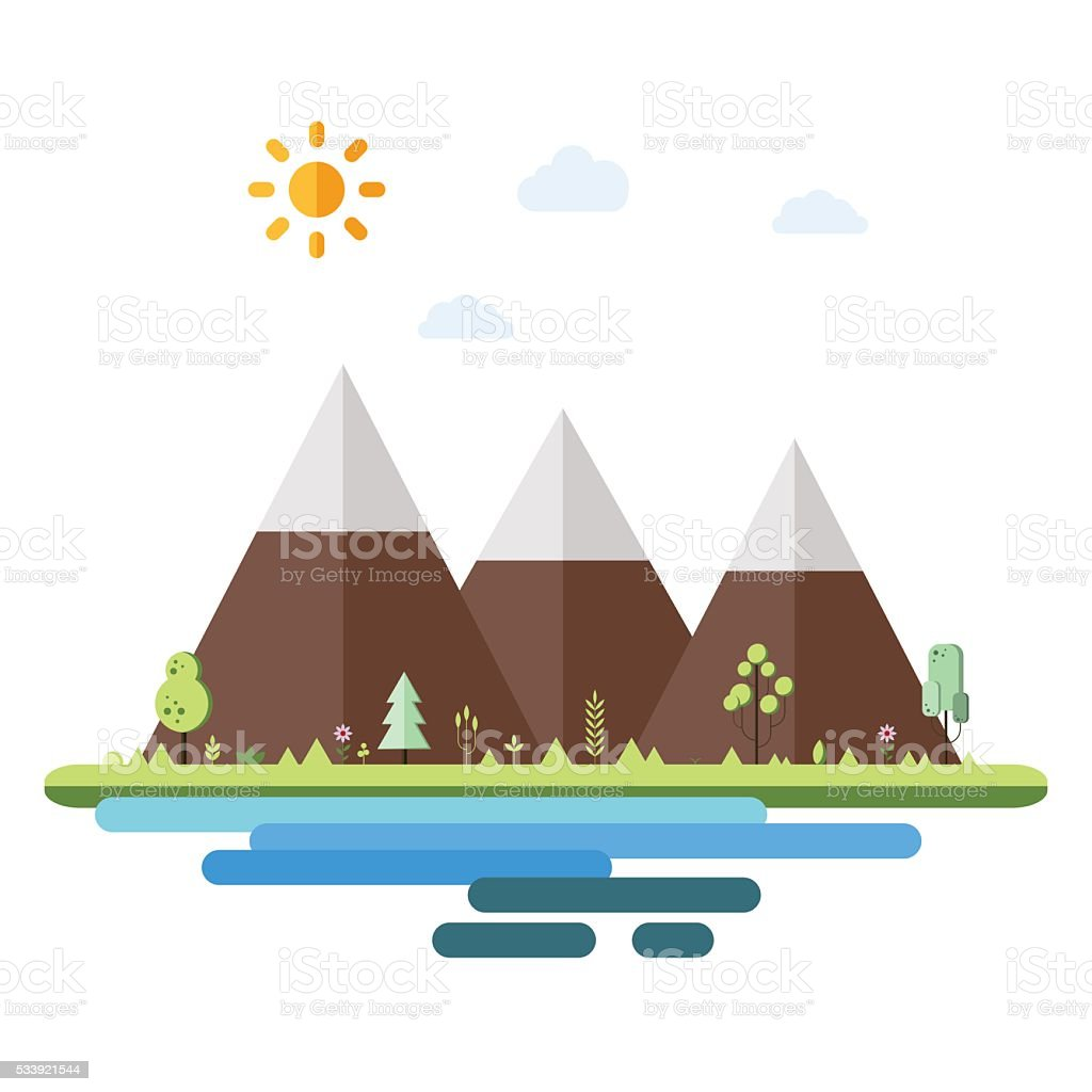 Landscapes by the sea in flat style vector art illustration