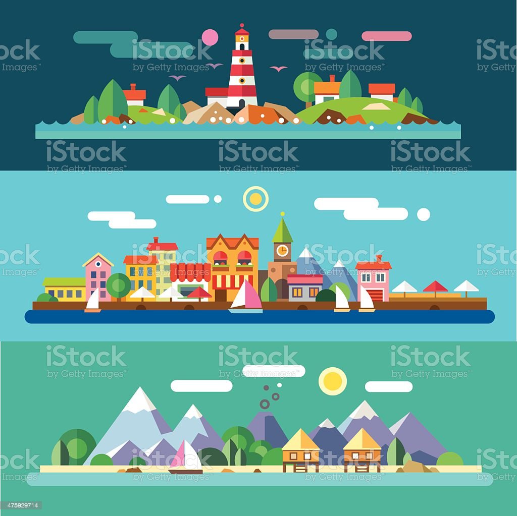 Landscapes by the sea vector art illustration