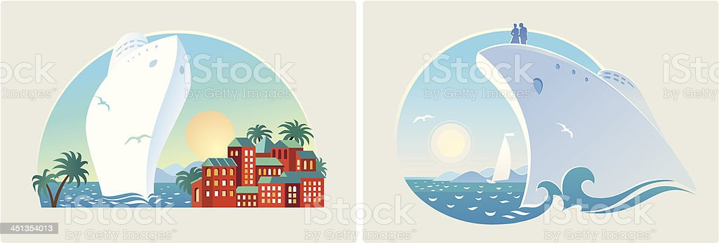 Landscapes the sea resort royalty-free stock vector art
