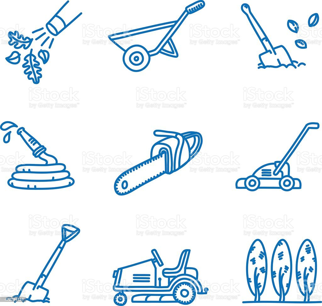 Landscaping and Gardening Icons vector art illustration