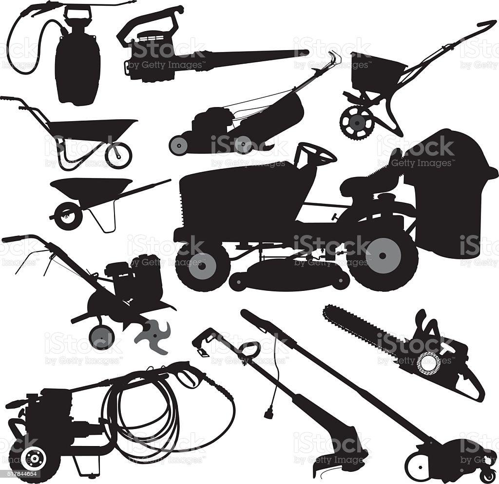 Landscaping Equipment, Yard Work Tools vector art illustration