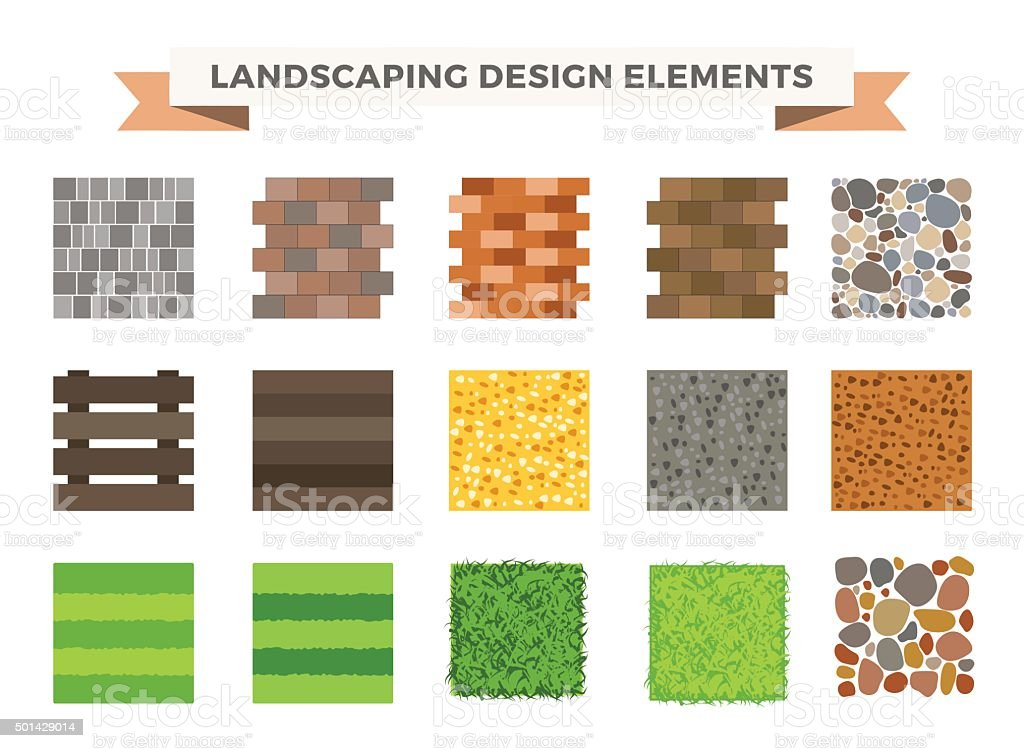 Landscaping garden design elements vector art illustration