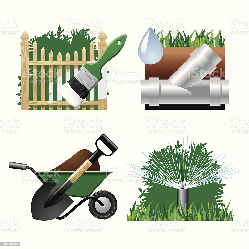 Landscaping icons 2 royalty-free stock vector art