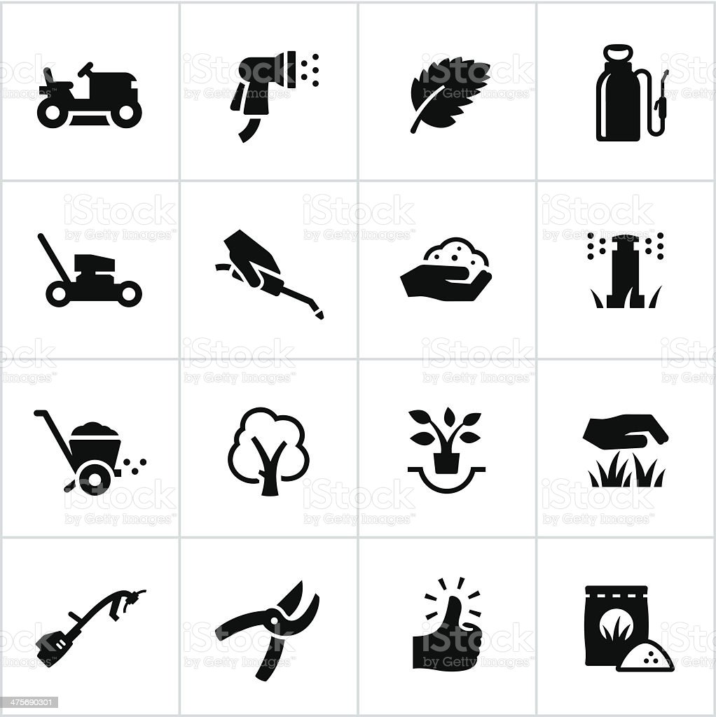 Landscaping Icons vector art illustration