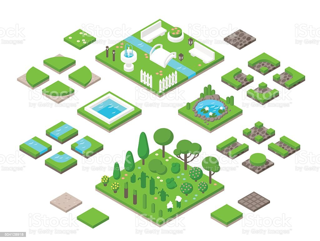 Landscaping isometric 3d garden design elements vector art illustration