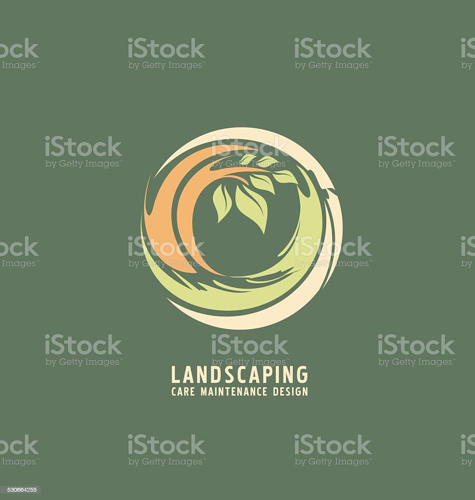 Landscaping logo design template vector art illustration