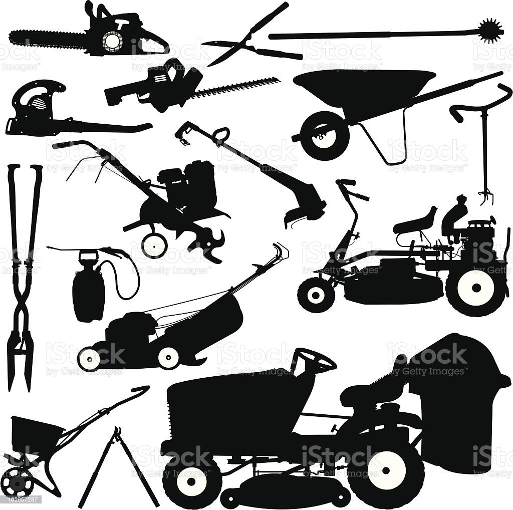 Landscaping Tools, Lawn Mower, Pruners, Wheelbarrow vector art illustration