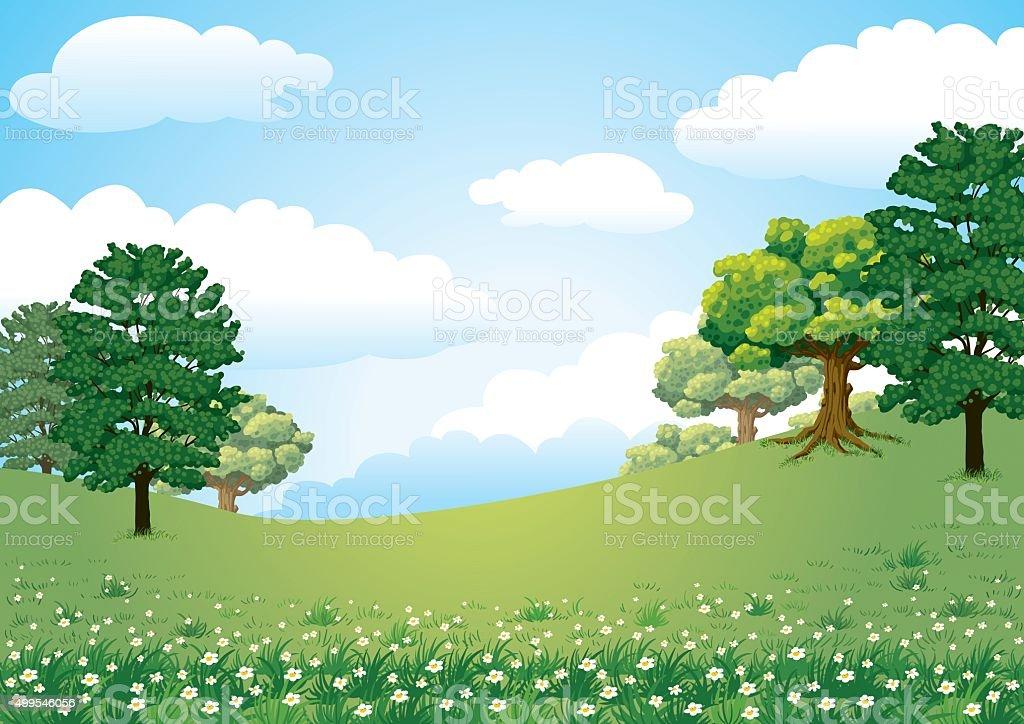 Landspace Green Nature vector art illustration