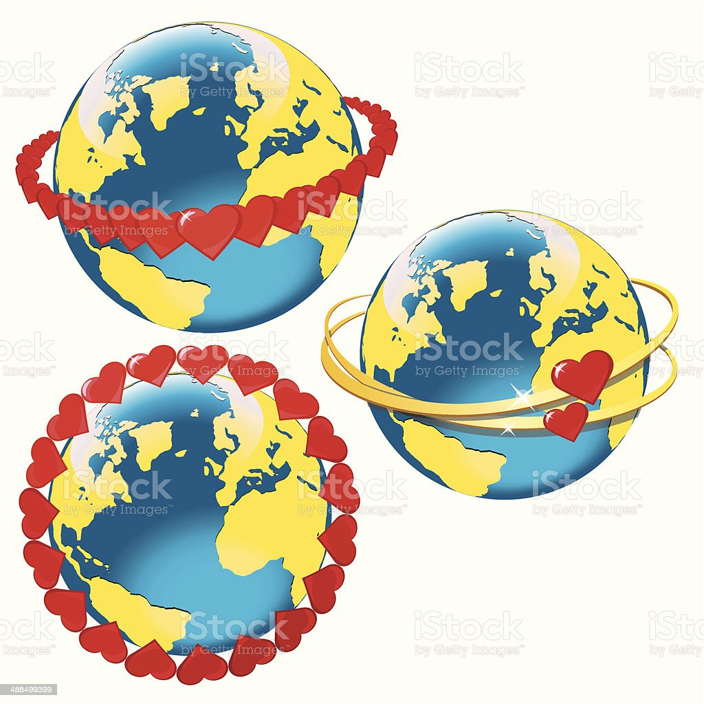 lanet Earth with hearts in orbit.Space view vector art illustration