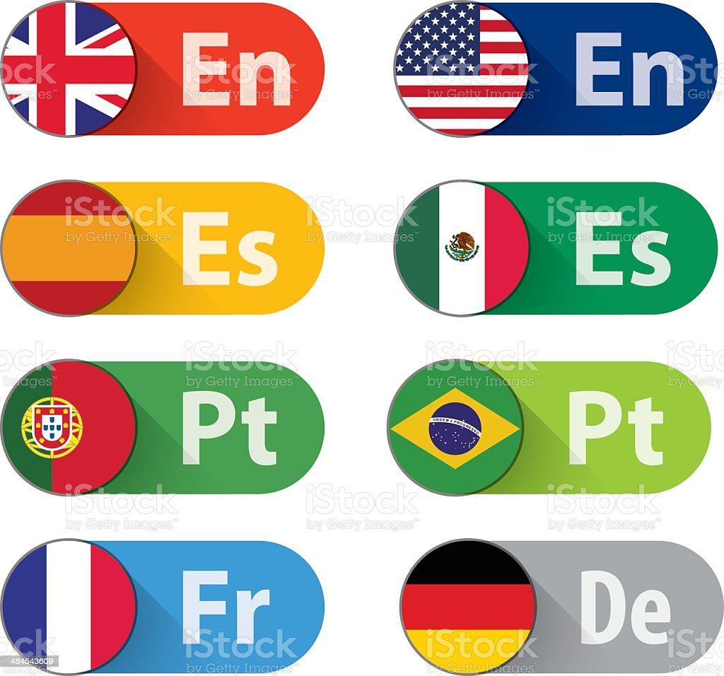 Language Buttons vector art illustration