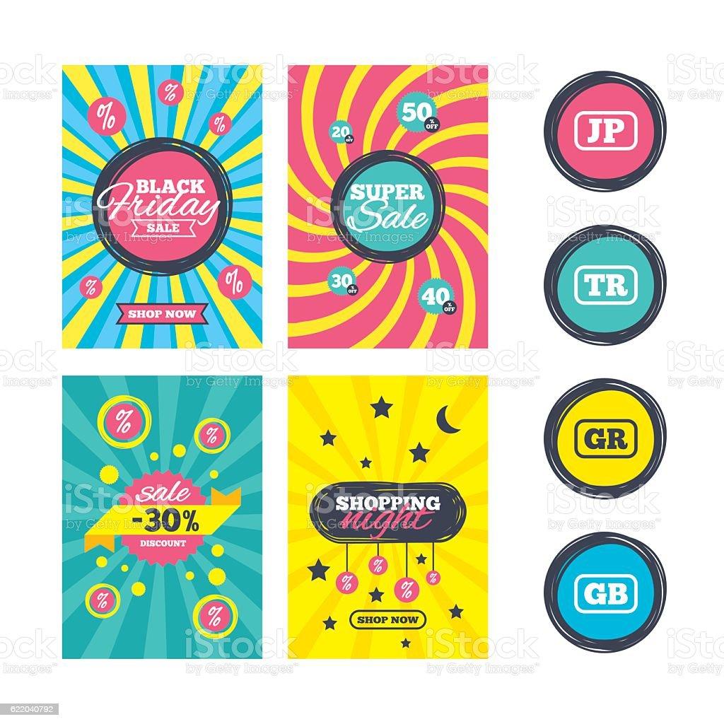 Language icons. JP, TR, GR and GB translation. vector art illustration