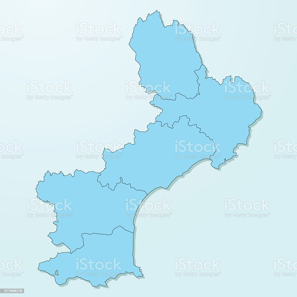 Languedoc-Roussillon blue map on degraded background vector vector art illustration