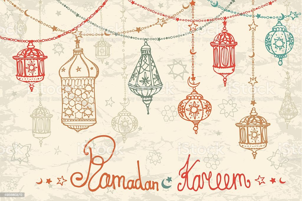 Lantern garland of Ramadan Kareem.Doodle card vector art illustration