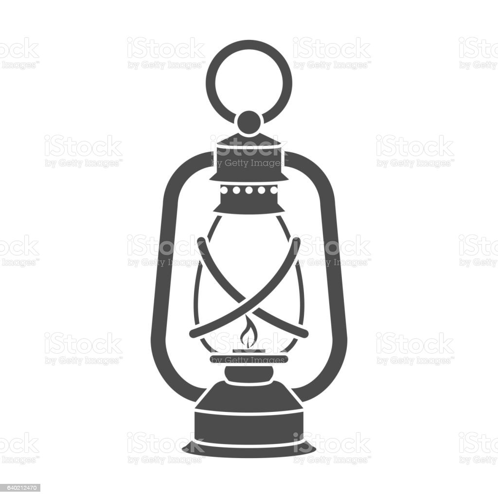 Lantern icon in black style isolated on white background. Mine vector art illustration