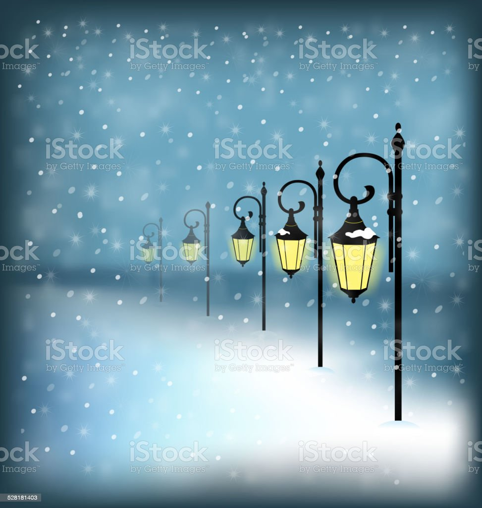 Lanterns stand in snowfall on blue vector art illustration