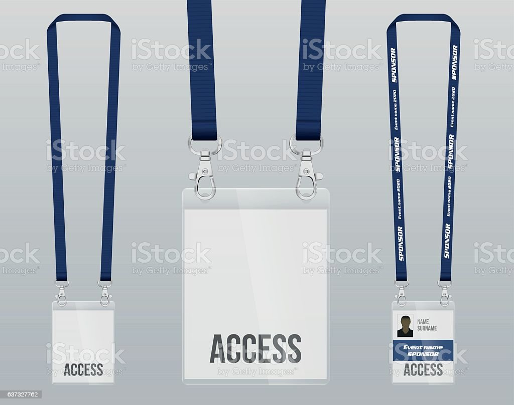 Lanyard and badge vector art illustration
