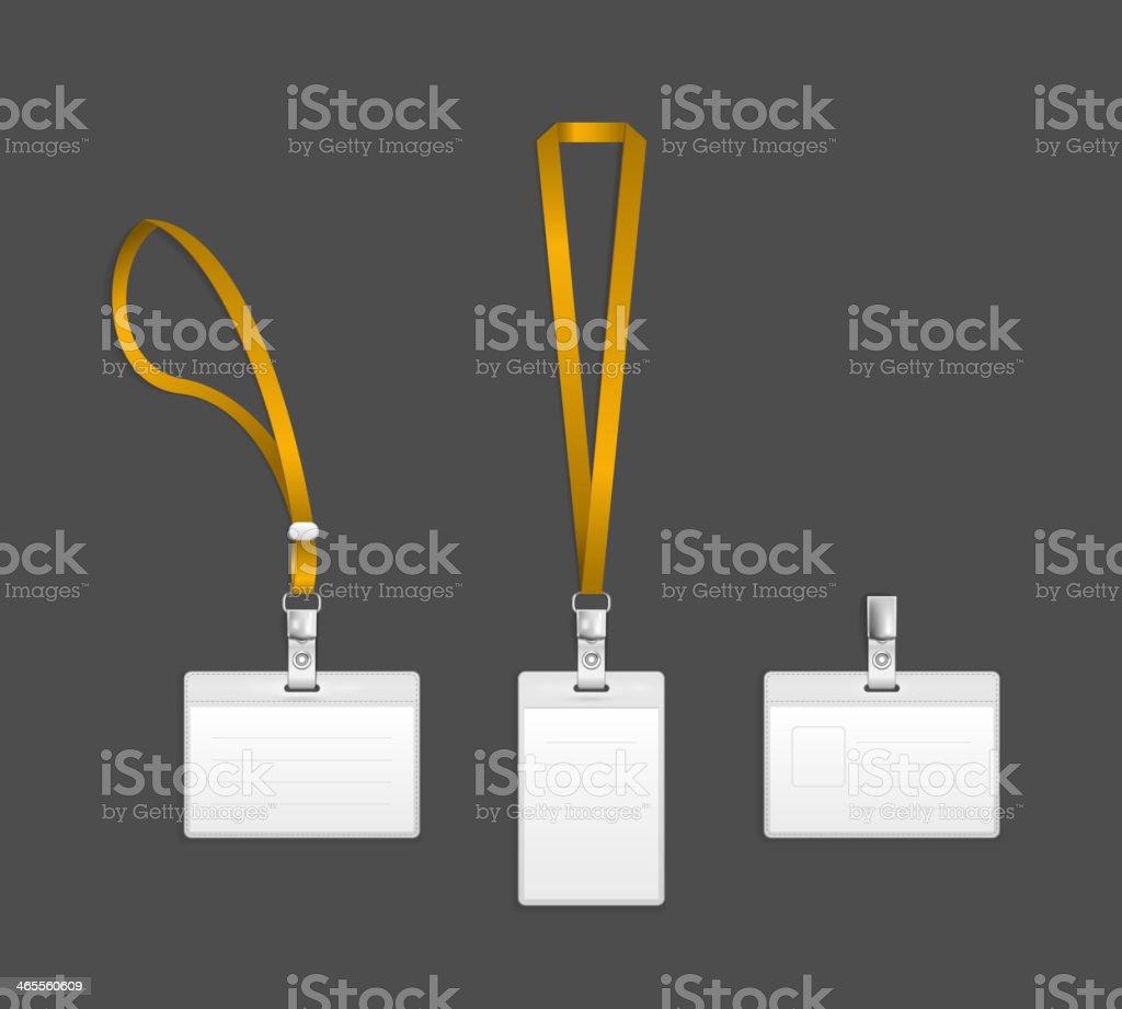 Lanyard, name tag holder end badge templates vector art illustration