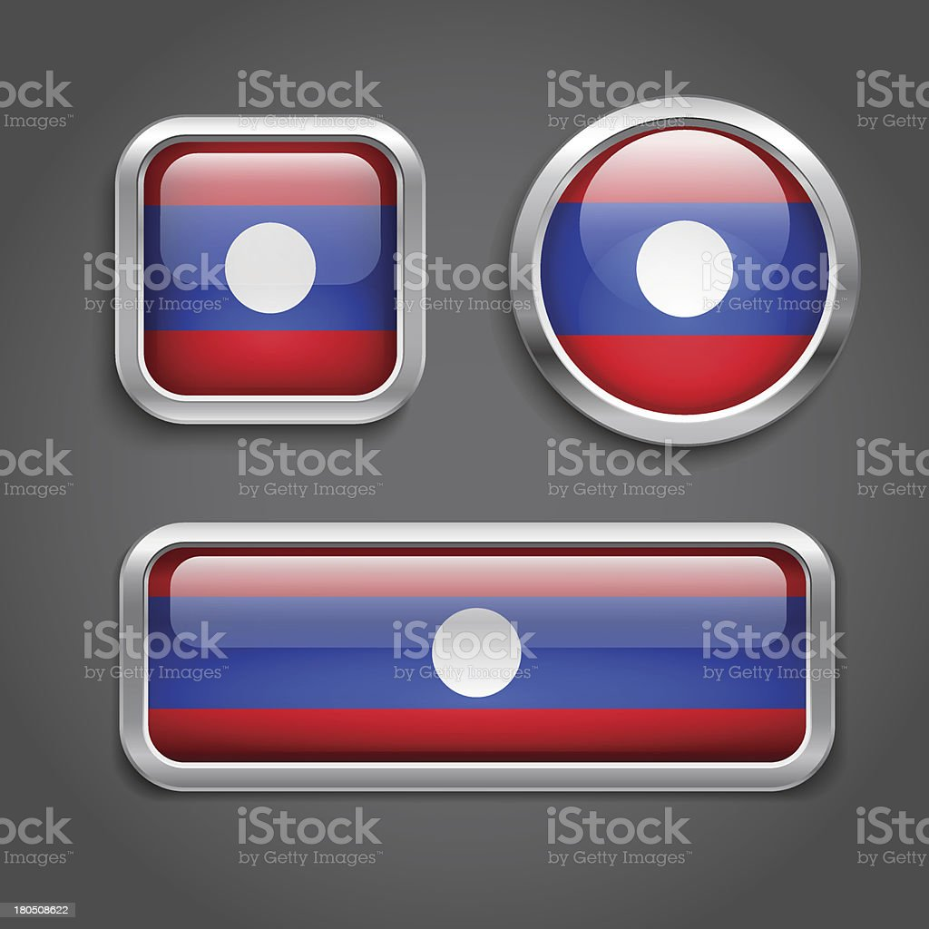 Laos  flag glass buttons royalty-free stock vector art