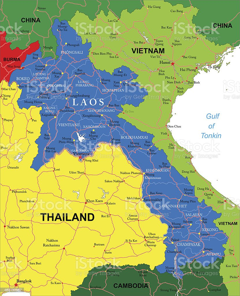 Laos map vector art illustration