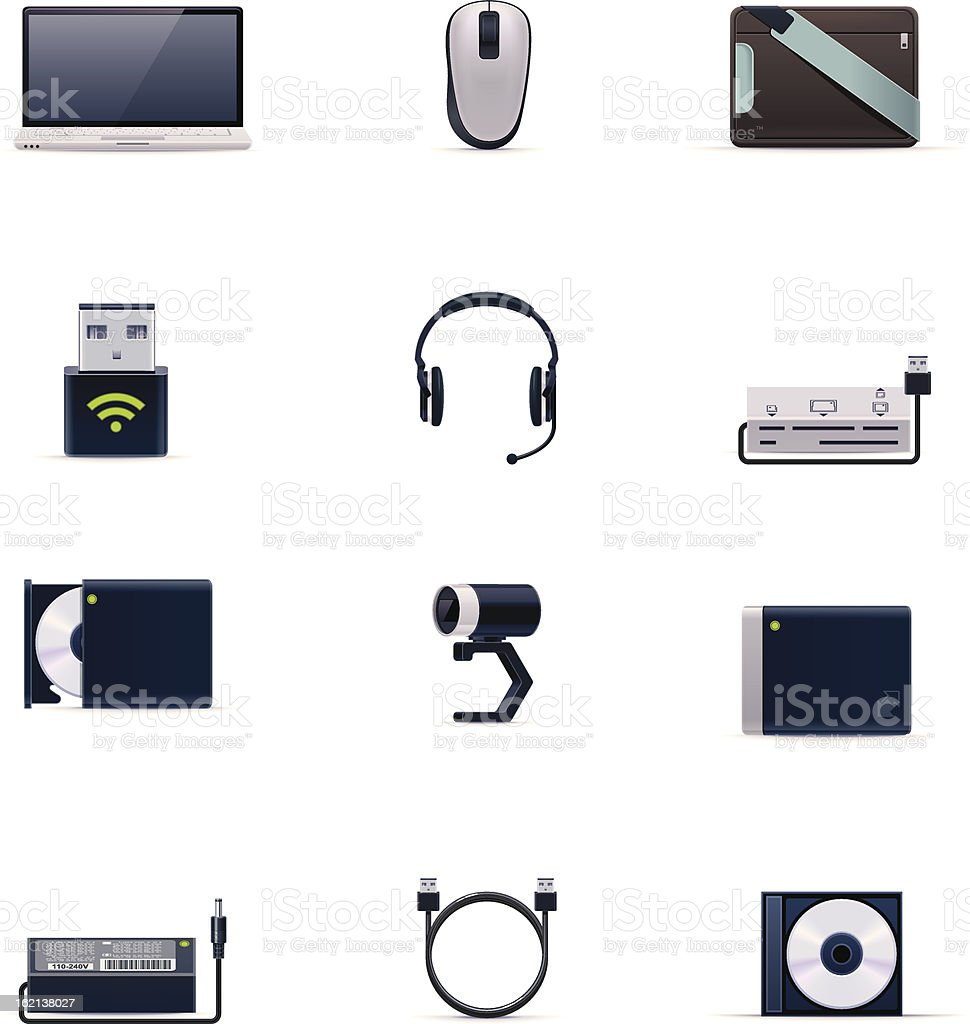 Laptop accessories icon set royalty-free stock vector art