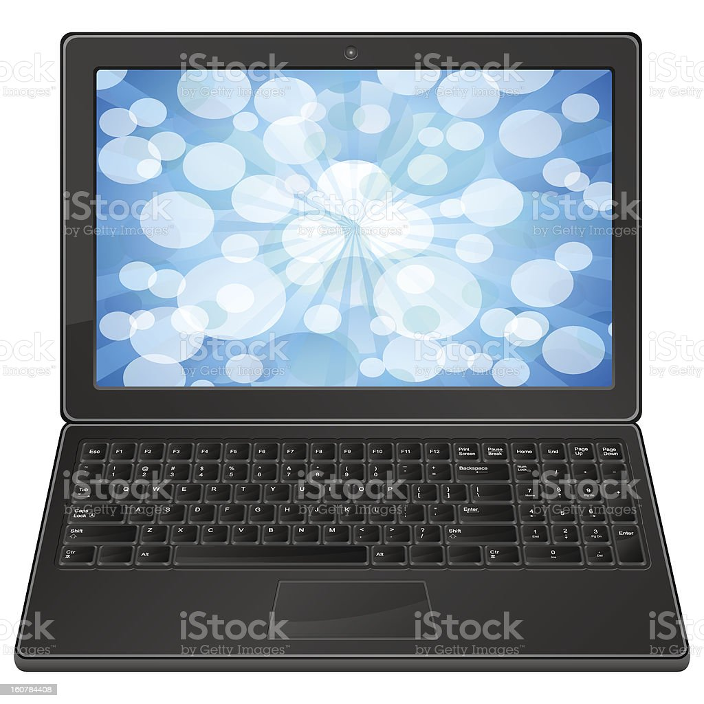 laptop and blue bokeh royalty-free stock vector art