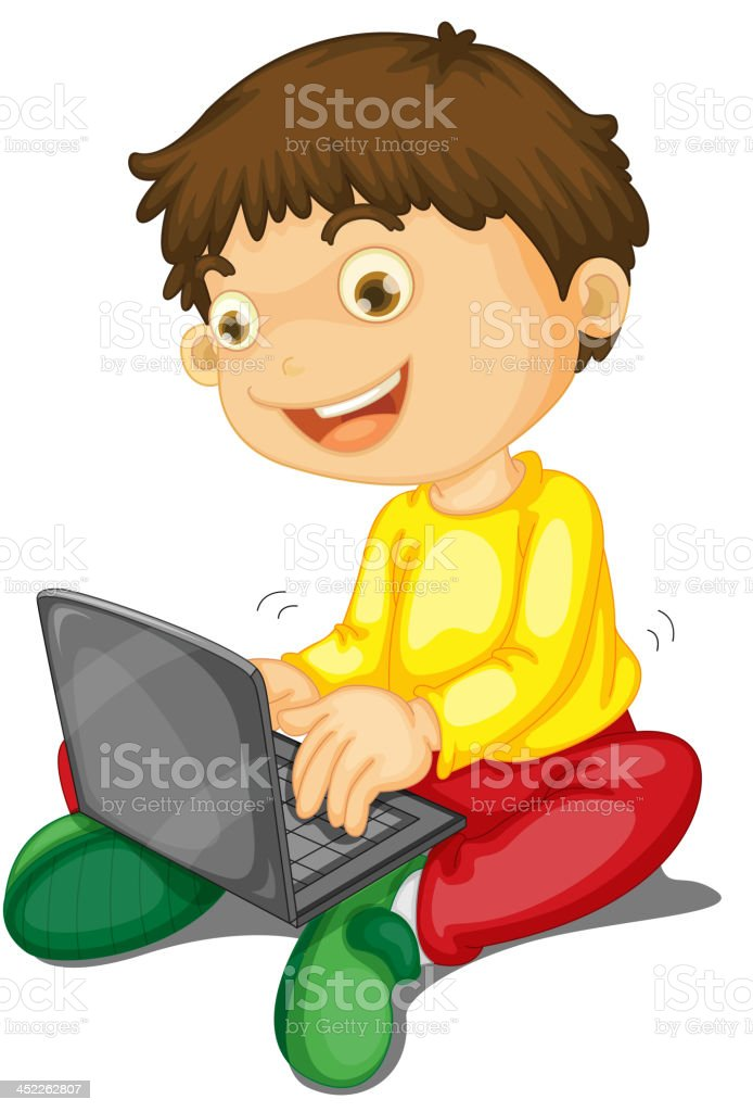 laptop and boy royalty-free stock vector art